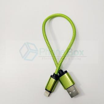 USB Metal Braided iPhone data/charging cable for power bank (green)
