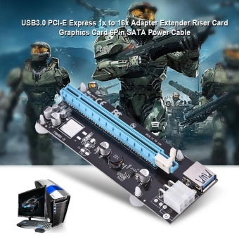 USB3.0 PCI-E Express 1x to 16x Adapter Extender Riser Card GraphicsCard 6Pin SATA Power Cable - intl