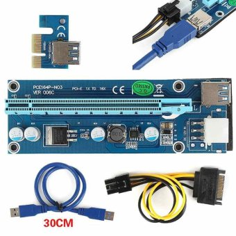 USB3.0 PCI-E Express 1x To 16x Extender Riser Card Adapter SATAPower Cable - intl