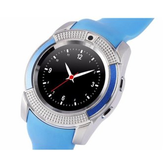 V8 Smart Watch Clock With Sim TF Card Slot Bluetooth for Android and iOS/blue