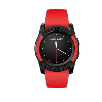V8 Smart Watch Clock With Sim TF Card Slot Bluetooth for Android and iOS(Red)