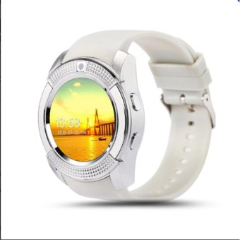 V8 Smart Watch Clock With Sim TF Card Slot Bluetooth for Android and iOS/white