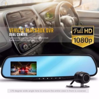 Vehicle Blackbox DVR Car Rear Mirror Full HD 1080 Dual ChannelRecorder (Black)