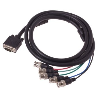 VGA HD-15 to 5 BNC RGB Video Cable for HDTV Extension Monitor(Black)