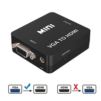 VGA to HDMI, 1080P Full HD Mini VGA to HDMI Audio Video Converter Adapter Box With USB Cable and 3.5mm Audio Port Cable Support HDTV for PC Laptop Display Computer Mac Projector (Black) - intl