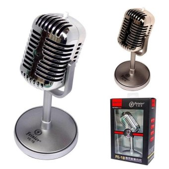 Vintage Professional Wired Classic Microphone Hight Quality DeluxeMetal Vocal Old Style Ktv Mic for Computer/Conference/KTV MIC(Silver) Price Philippines