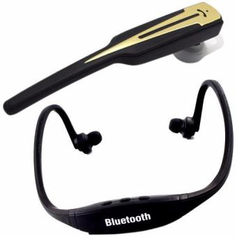VLG-001 Wireless Bluetooth Hands Free Stereo Headset (Black) WithSports Stereo Bluetooth Headphone With Mic (Black)