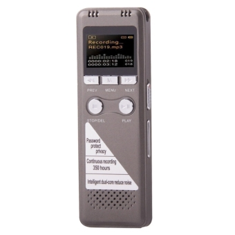 VM33 Professional 8GB LCD Digital Voice Recorder with VOR MP3 Player (Grey)