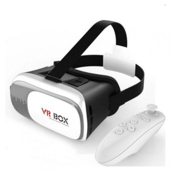 VR Box 2.0 Virtual Reality 3D Glasses with Bluetooth VR Controllerfor Smartphone (White)