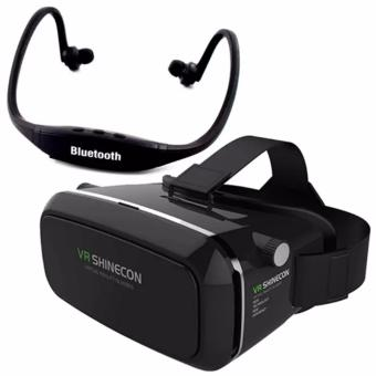 VR Box Shinecon Smartphone 3D Virtual Reality Glasses (Black) WithStereo Headset Bluetooth (Black)