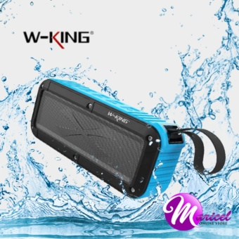 W-King S20 Waterproof, Dust-Proof, Shock-Proof Bluetooth Speaker with FM Radio/TF and AUX Slot (Black/Blue)