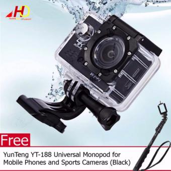 W8 4K 1080p Ultra HD DV 16MP WiFi Sports Action Camera (Black) with FREE YunTeng YT-188 Universal Monopod for Mobile Phones and Sports Cameras (Black)