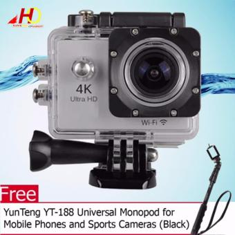 W8 4K 1080p Ultra HD DV 16MP WiFi Sports Action Camera (Silver) with FREE YunTeng YT-188 Universal Monopod for Mobile Phones and Sports Cameras (Black)