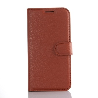 Wallet Flip Leather Case Cover For Samsung Galaxy S7 Edge (Brown) -intl