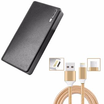 Wallet Style Power Bank 20000mAh (Black) WITH Cable Wire Connectorfor iPhone and Android 2in1 (Gold)