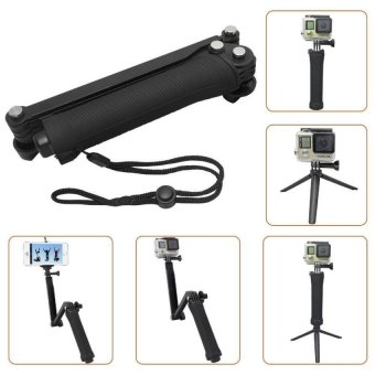 Waterproof For Gopro Tripod 3 Way Monopod For Gopro Hero 5 3+ 4Session Xiaomi Yi Sjcam Sj4000 Camera Grip Go Pro 5 Accessories - intl