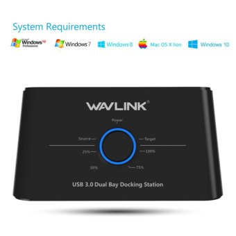 Wavlink USB 3.0 to SATA Dual Bay External Hard Drive Docking Station for 2.5/3.5 Inch SSD HDD SATA Support 2x8TB &UASP With Offline Clone/Backup Function - intl
