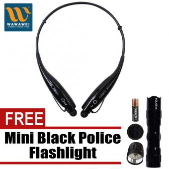 Wawawei HBS-730 Sports Wireless Bluetooth Stereo Headphone foriPhone/Android (Black) with free Mini Black Police Flashlight