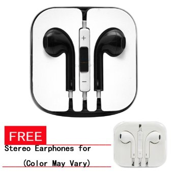 Wawawei In-Ear Headphones with Mic (Black) with FREE StereoEarphones