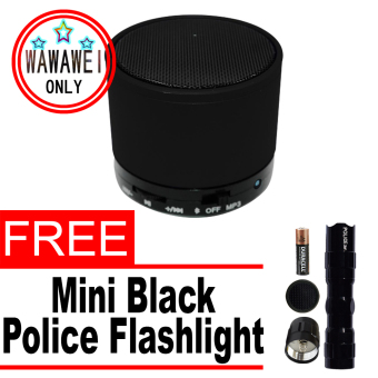 Wawawei Mini S10 Bluetooth Speaker with MP3 (Black) with free MiniPolice Flashlight