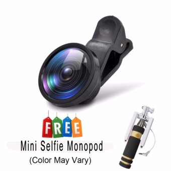 Wawawei Universal 180 degree telescope Clip Camera Lens Super Wide0.4x Selfie Cam Lens of Android and iPhone Apple(Black) with FreeMini Selfie Monopod