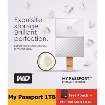 WD My Passport 2017 1TB USB 3.0 Portable Hard Drive (White) with FREE Pouch, WD Kroll OnTrack and P100 GC
