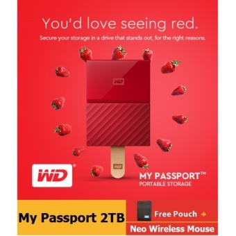 WD My Passport 2017 2TB USB 3.0 Portable External Hard Drive (Red) with FREE WD Soft Pouch, WD Kroll OnTrack and Neo Premium Wireless Mouse