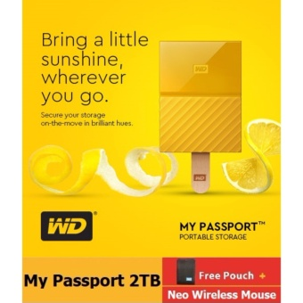 WD My Passport 2017 2TB USB 3.0 Portable External Hard Drive (Yellow) with FREE WD Soft Pouch, WD Kroll OnTrack and Neo Premium Wireless Mouse