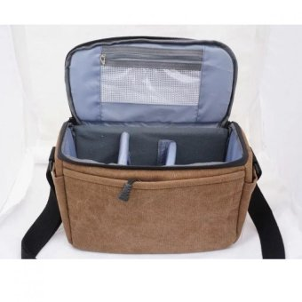 Werproof Travel Bag Khaki Gray Canvas DSLR Camera Shoulder Bag forCanon 700d 750d Canon 1000D 1100D 1200D Nikon: D3000 D3100 D3200Fuji Pentax SLR Sony - intl - 4