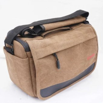 Werproof Travel Bag Khaki Gray Canvas DSLR Camera Shoulder Bag forCanon 700d 750d Canon 1000D 1100D 1200D Nikon: D3000 D3100 D3200Fuji Pentax SLR Sony - intl - 2