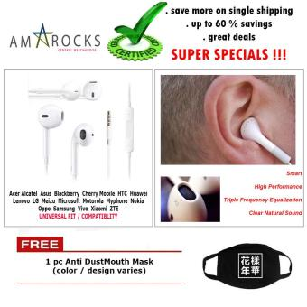 White Stereo Earphone Smart Power Equalization with Mic for OppoPhone Model (All Model Compatible)