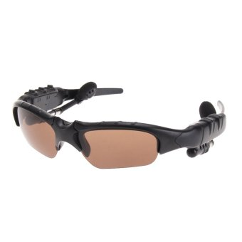 Wireless Bluetooth 4.0 Sunglasses Stereo Music Hands free Earphone (Brown) (Intl)