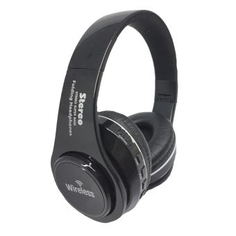 Wireless Bluetooth FM/MP3 with LED light Stereo headphones (black)