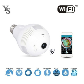 Wireless IP Camera Wifi Bulb Light Home Security 1.3MP 960P Fisheye360 Degree Panoramic P2P Audio Surveillance Camera - intl