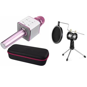 Wireless Q7 Karaoke Microphone, Portable Handheld BluetoothCondenser Microphone and Speaker Iphone and Android by Finity(Pink) With Universal Shock Mount Suspension Mount Stand Holderwith Filter for Microphone