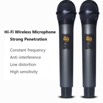 Wireless UHF Professional Microphone 2-Channel Dual LCD Handheld Mic System Kits US PLUG - intl - 4