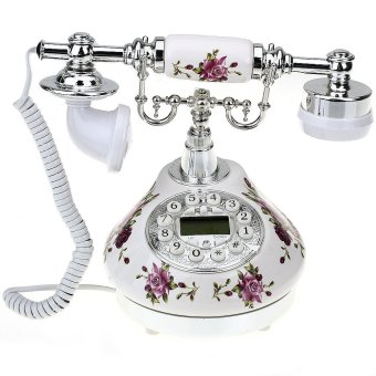 WiseBuy Retro Antique Style Resin Desk Telephone Phone PrintSilver+White Home Decor
