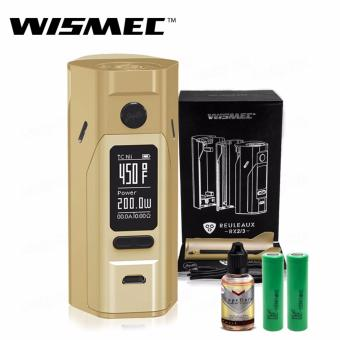 Wismec Reuleaux RX2/3 200W Variable Electronic Cigarette Mod (Gold) with 30ml Premium Quality E-Juice (Flavor May Vary) & LHR Shrek 2500mAh or 2600mah INR18650 Battery