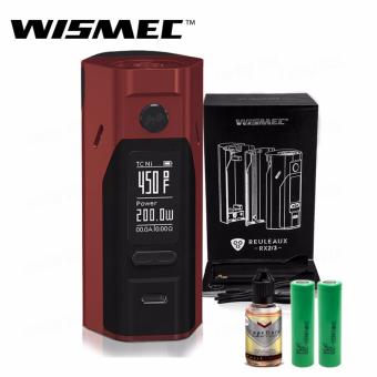 Wismec Reuleaux RX2/3 200W Variable Electronic Cigarette Mod (Red) with 30ml Premium Quality E-Juice (Flavor May Vary) & LHR Shrek 2500mAh or 2600mah INR18650 Battery