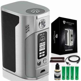 Wismec RX300 Variable Temperature Control 300W Box Mod Electronic Cigarette (Silver) with Premium Quality E-Juice 30ml (Flavor May Vary) & LHR Shrek 2500mAh OR 2600mah INR18650 Battery