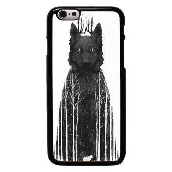 Wolf Pattern Phone Case For iPhone 6/6s (Black)