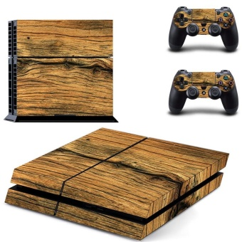 Wooden Board Texture Design Decal PS4 Skin Sticker For Sony Playstation 4 Console protection film +2Pcs Controllers Protective Cover DPTM0774 - intl