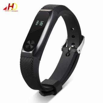 Wristband Band Strap + Metal Case Cover For Xiaomi Mi Band 2 Bracelet (Black)