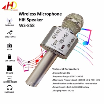 WS-858 Wireless Bluetooth Microphone MIC Recording Condenser Handheld Microphone Stand W/ Speaker WS858 for Mobile Phone Karaoke (Silver)