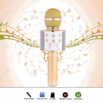 WS-858 Wireless Bluetooth Microphone MIC Recording CondenserHandheld Microphone Stand W/ Speaker WS858 for Mobile Phone Karaoke(Gold)