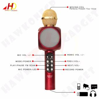 WS1816 Flash LED Lights Wireless Bluetooth Microphone Hi-Fi Speaker for Mobile Phones (Red) - 3