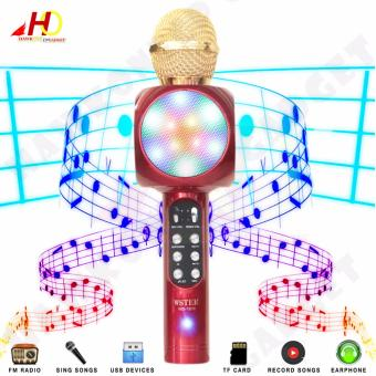 WS1816 Flash LED Lights Wireless Bluetooth Microphone Hi-Fi Speaker for Mobile Phones (Red)