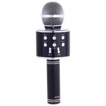 WSTER WS-858 Handheld KTV Wireless Karaoke Microphone w/ Wireless Bluetooth Microphone Hi-Fi Speaker (Black)