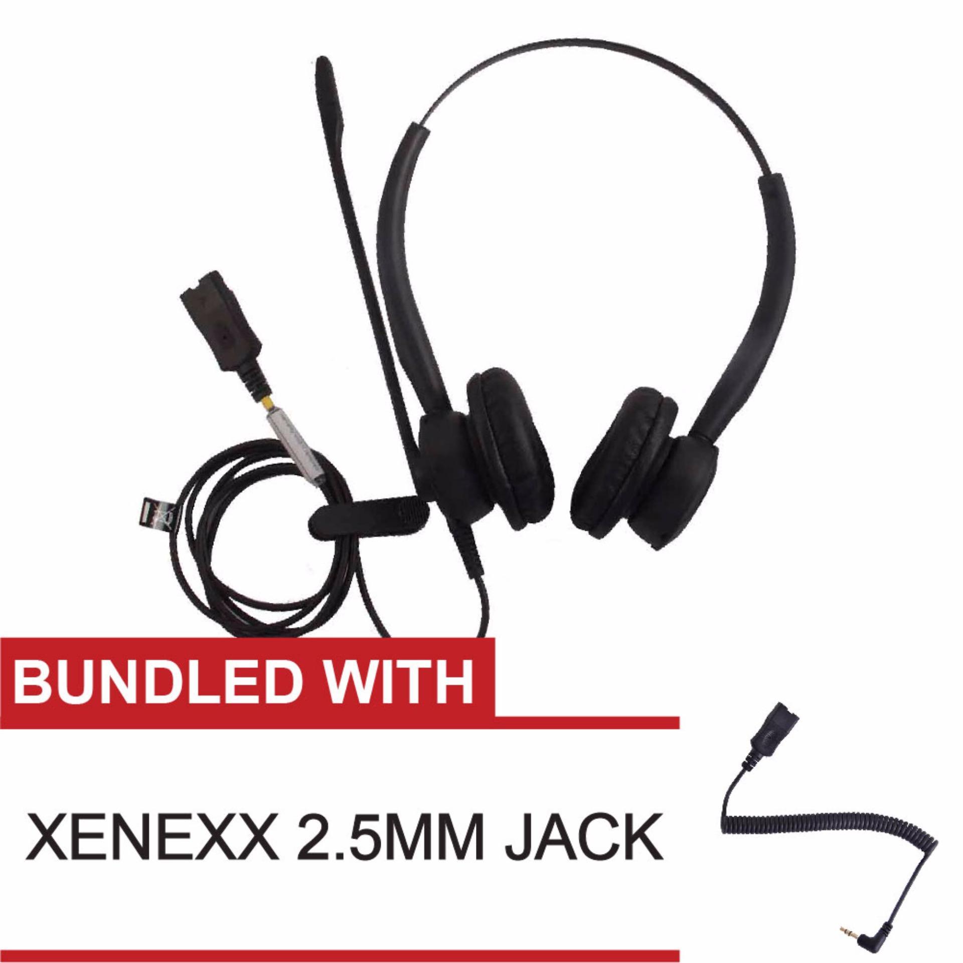 ... Xenexx 825 Binaural Duo Noise-Cancelling Call Center Headset withXenexx XX 2.5mm 3- ...