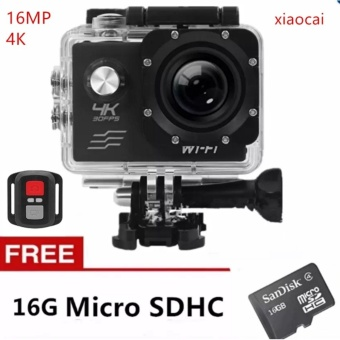 Xiaocai-1080P Action Camera Wifi Sports Cam + Remote ControlShutter And 16Gb Micro with Free Samsung In-Ear Earphones EO-IG955For Samsung S8 / S8+ / Smartphone made in AKG (Black)